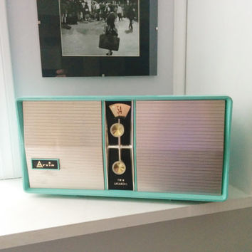 Vintage Arvin Tube Radio - 1950s working Radio - Turquoise / Blue Radio - Very Good Condition