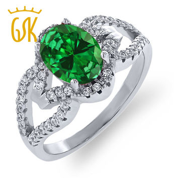 GemStoneKing 2.12 Ct Oval Green Simulated Emerald Vintage Rings For Women 925 Sterling Silver Big Gemstone Ring