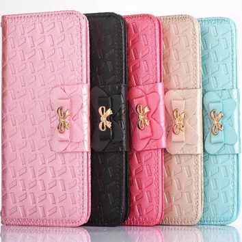 Luxury Wallet Stand Flip card Leather case For iPhone 7 plus 6 6s Plus 8 plus samsung s6 s7 edge Butterfly bow Cover