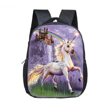12 Inch Cartoon Unicorn School Backpack Schoolbags Girls Boys Rainbow Pony School Bags Children Bookbag Kindergarten Backpack