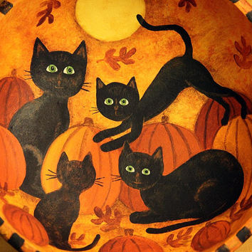 Halloween Folk Art Painting on Primitive Wood Bowl with Four Black Cats in a Pumpkin Patch, Full Moon, Autumn Leaves, Country Decor