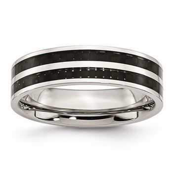 Men's Stainless Steel Double Row Black Carbon Fiber Inlay Wedding Band Ring