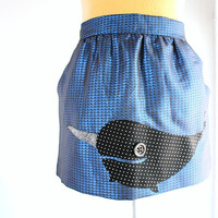 narwhal skirt - L / XL applique metallic blue - upcycled clothing