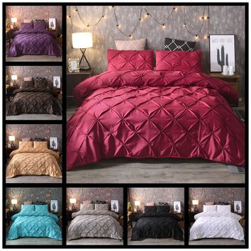 2/3PCS European Style Bedding Set Luxury Pinch Pleat Duvet Cover with Pillowcases Twin Full Queen King Size Bed for Bedding Room