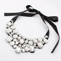 Women's Fashion Artificial Crystal Rhinestone Collar Necklace with Ribbon Tie (White)