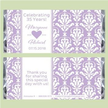 Damask Pattern Anniversary Candy Bar Wrappers