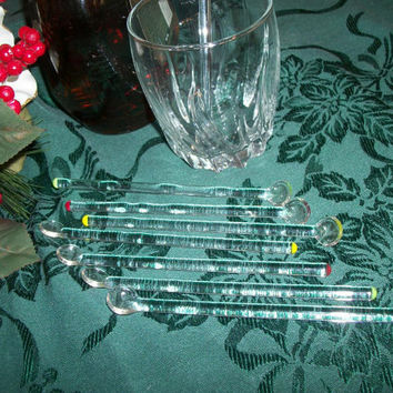 Vintage Barware Cocktail Mixing Stirrers Swizzle Sticks Eight Clear Glass Colored Tips Miniature Spoons Beverage Serving Home Bar Accessory