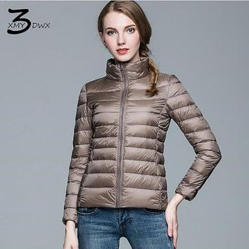 XMY3DWX femininity winter of new products 90% White duck down jacket Slim Fit/Women lightweight slim Stand collar down coat