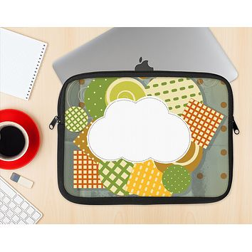 The Green Plaid & Polka Dotted Cloud Collage Ink-Fuzed NeoPrene MacBook Laptop Sleeve