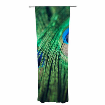 "Chelsea Victoria ""Peacock Feathers"" Blue Green Decorative Sheer Curtain"
