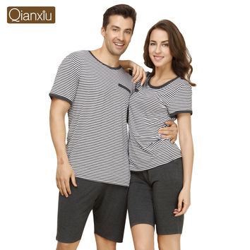 2016 lovers Couple striped Pajama Set Knitted Modal Homewear for women Man Short SleepSuit 1414