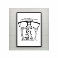 Owl With Glasses Print / Owl Decor / Wall Art / US Letter and A4 up to A0 size/ Kids Room Decor / Nursery Decor / Five colors to choose from