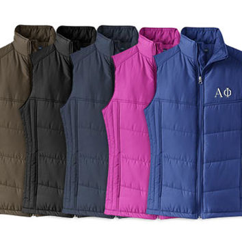 Alpha Phi Puffy Vest, Alpha Phi Quilted Puffy Vest, Alpha Phi Apparel, Sorority Letters, Greek Letter Puffy Vest, Greek Apparel