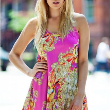 Pink floral print babydoll dress