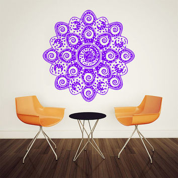 Wall Decal Vinyl Sticker Decals Art Home Decor Mural Mandala Ornament Indidan Geometric Moroccan Pattern Yoga Namaste Flower Om Bedroom AN82