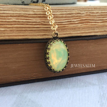 Mint Green Necklace Gold Silver Victorian Chrysolite Opal Glass Stone Oval Long Layered Necklace Edwardian Heirloom Jewelry C1