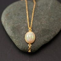 Opal Necklace - October Birthstone - Opal Pandent - Gold Necklace - Cabochon Stone - Small Opal Solitaire Necklace