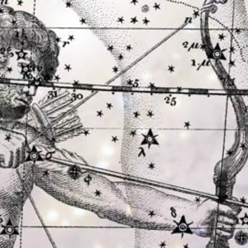 Sagittarius Constellation, Zodiac, Astrology, Astronomy, Metallic Print, Constellation print