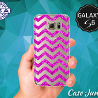 Pink Sparkle Chevron Pattern Glitter Cute Case for Clear Rubber Samsung Galaxy S6 and Samsung Galaxy S6 Edge Clear Cover