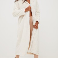 Cream Longline Faux Fur Coat