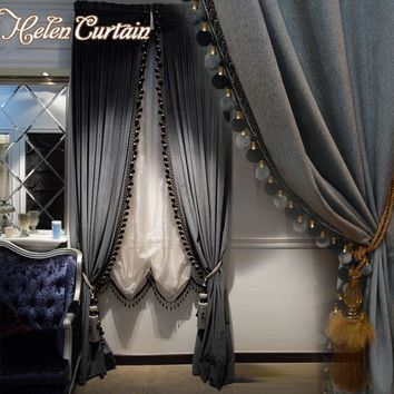 Helen curtain Luxury Europe Style Italian Velvet Curtains For living Room Embroidered White Tulle Valance Solid Curtains 2206