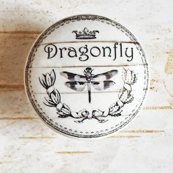 Dragonfly Knobs Drawer Pulls, Classic Black and White Cabinet Pull Handles, Shabby Chic Dresser Knob Pulls, Cottage Chic, Made To Order