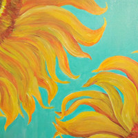 Sunflowers on Turquoise Original canvas painting, 16 x 20