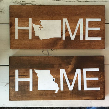 State HOME wood sign, missouri home sign, utah home sign, washington home sign, wyoming home sign, state home sign