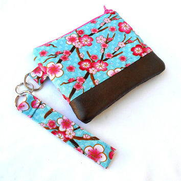 Cherry Blossoms Wristlet Clutch - Sakura Ume Flowers Faux Leather Zipper Pouch