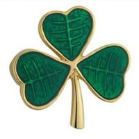 Gold Plated and Green Enamel Shamrock Brooch - Made in Ireland $33.00