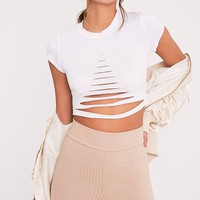 Women's Short Sleeve Ripped Solid Crop Top