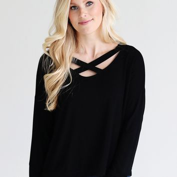 Black DLMN Long Sleeve Criss Cross Top