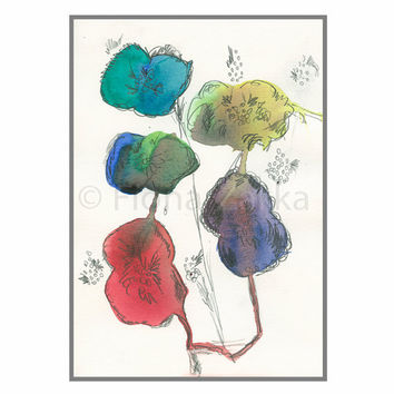 "Watercolor Painting Abstract Flowers Art Picture Original Blue Purple Red Green Yellow Nature Inspired Fantasy 81/4""x57/8"" / 21x14.8cm"