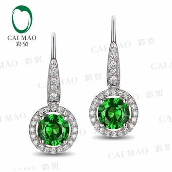 18KT White Gold 1.85 ct Natural Tsavorite & 0.35 ct Round Cut Diamond Halo