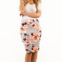 Floral Pencil Skirts - Grey - S