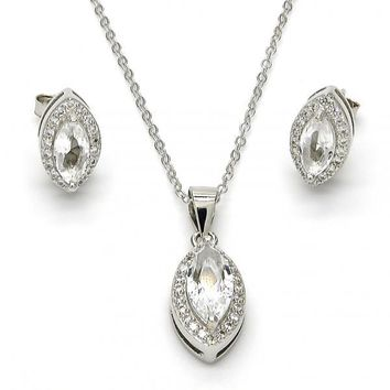 Sterling Silver Necklace and Earring, with Cubic Zirconia and Micro Pave, Rhodium Tone
