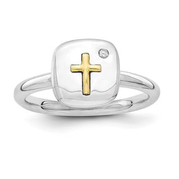 Sterling Silver & 14k Gold Cross Stackable Expressions Diamond Ring