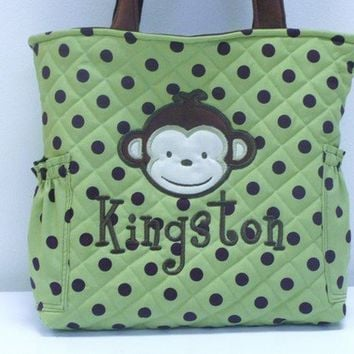 Monkey Applique Personalized Diaper Bag Tote Quilted Boys Large Size