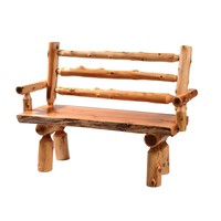 Traditional Cedar Log Bench with Back and Armrests