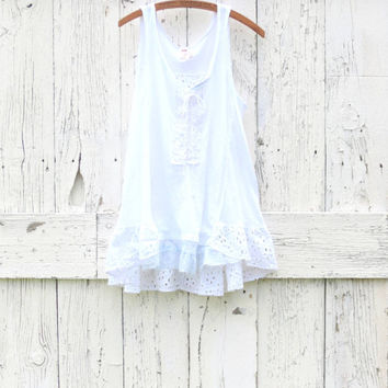 White Free People Tank Tunic , Size L Upcycled summer top , refashioned clothing , altered bohemian clothes , eco fashion by wearlovenow