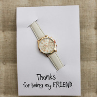 Thanks For Being My Friend White Band Fashion Woman Wristwatch Fashion Dress Gift Card Watch