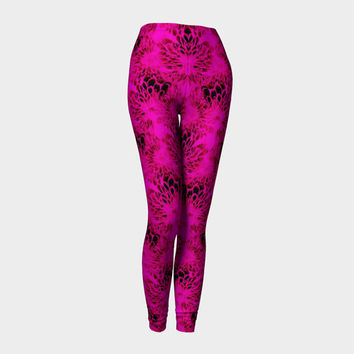 Burnt Petals on Pink, Compression fit performance Leggings, XS,S,M,L,XL, Hand Made Activewear, Purple, Azure, Baby Blue Cerulean, Yoga pants