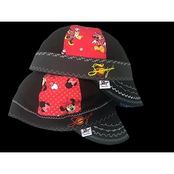 2Pk. Minnie Mouse Embroidered Size 7 5/8 Unique Hybrid Welding Caps