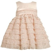 Peach Satin and Tiered Crochet Lace Dress PE0NN,Bonnie Jean Baby-Newborn Special Occasion Flower Girl Party Dress