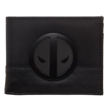 MPW Marvel Deadpool X-Force Insignia Bi-Fold Wallet, Faux Leather Detail in Grey and Black, Multi-Functional