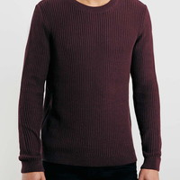 Burgundy Vertical Rib Crew Neck Sweater - Top Rated Styles - New In