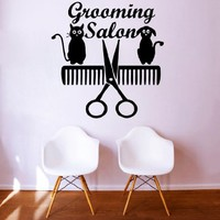 Wall Decals Quote Grooming Salon Decal Dog Scissors Comb Cat Vinyl Sticker Pet-Shop Grooming Salon Home Decor Art Mural Ms723