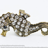 Cute Sea Horse Ring, Metal Alloy Ring Gold Vintage Finish, Adjustable with Rhinestones