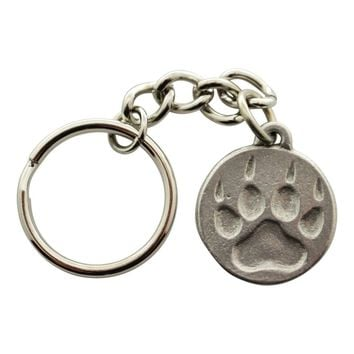Wolf Track Keychain ~ Antiqued Pewter ~ Keychain