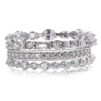 7TCW Stacked Russian Lab Diamond Engagement Wedding Band Rings